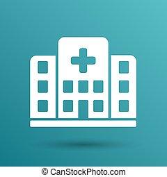 建物, 病院, 隔離された, 交差点, 人間, アイコン, 医学, 光景