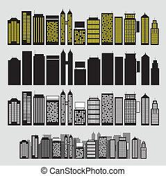 建物, 白, セット, 黒, アイコン