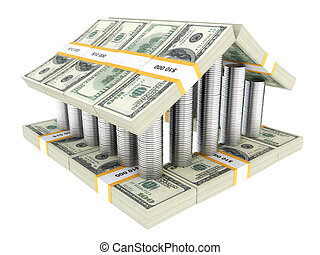 建物, 白, ドル, 隔離された