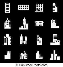 建物, 白, ベクトル, セット, アイコン