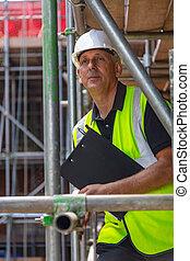 建物, 監督, 建築者, サイト, クリップボード, 建設