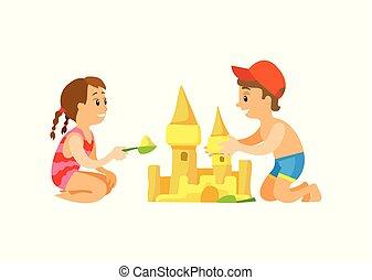 建物, 砂, 活動, 浜, 子供, 城