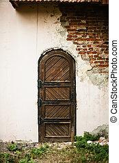 建物, 破壊された, 古い, ドア, 中世