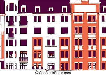 建物, 窓, バックグラウンド。, パターン, ベクトル, ファサド, 都市