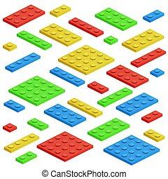 建物, 等大, おもちゃ, 子供, レンガ, ベクトル, セット, ブロック