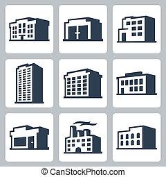 建物, 等大, アイコン, セット, スタイル, ベクトル, #2