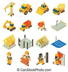 建物, 等大, アイコン, セット, スタイル, 建設