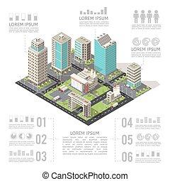 建物, 等大, オフィス, infographics
