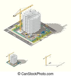 建物, 等大, セット, 低い, フレーム, poly, 建設, 一枚岩である, 家, アイコン