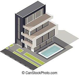建物, 等大, セット, 住宅の, 現代, アイコン