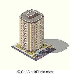 建物, 等大, セット, 住宅の, lowpoly, 駐車, アイコン