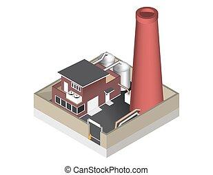建物, 等大, フェンス, cisternae, 隔離された, イラスト, 工場, バックグラウンド。, ベクトル, パイプ, 白, アイコン, 表すこと, barrier.