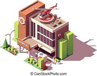建物, 等大, ベクトル, 病院