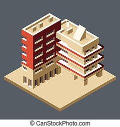 建物, 等大, 作られた, オフィス, 現代, -, コーナー, ブロック