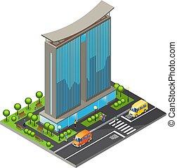 建物, 等大, 概念, オフィス
