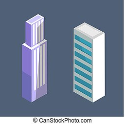 建物, 等大, 現代, ベクトル, デザイン, 超高層ビル