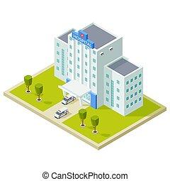 建物, 等大, 自動車, 病院, イラスト, ベクトル, 救急車