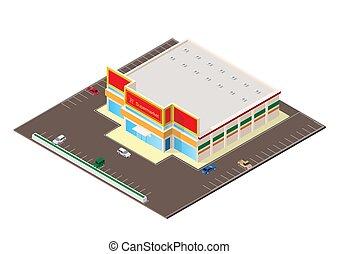 建物, 等大, 買い物, スーパーマーケット, モール, ∥あるいは∥, アイコン