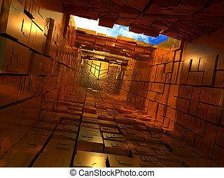 建物, 箱, abstrac