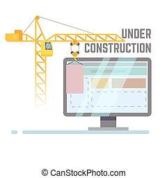 建物, 網, ベクトル, サイト, 建設, 背景, 下に