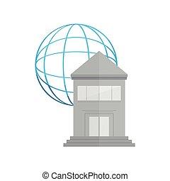 建物, 網, 銀行, アイコン