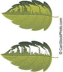 建物, 緑の葉, 工場