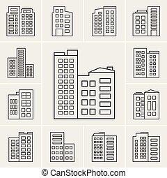 建物, 線, ベクトル, イラスト, アイコン