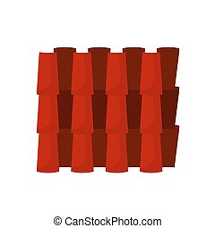 建物, 繰り返し, 防水, パターン, セラミック, ルード, seamless, ベクトル, clay., 波状, タイルを張った, 家, オレンジ, アイコン, terracotta, cover., 横列