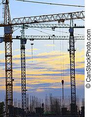 建物, 美しい, 使用, 土地, ビジネス, 産業, 空, に対して, 建設, 開発, dusky, クレーン