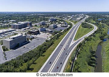 建物, 航空写真, 跨線橋, タラップ, ハイウェー