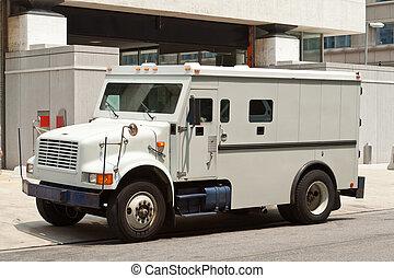 建物, 装甲, 自動車, 装甲, 通り, 駐車される