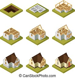 建物, 視覚化, 別, 現代, 等大, イラスト, ベクトル, 建設, stages.