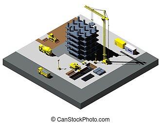 建物, 詳しい, 等大, イラスト, 車, 含む, 高く, ベクトル, 建設