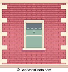 建物, 詳しい, facade., illustration., クラシック, wall., 窓, ベクトル, 建築である, れんが, 要素