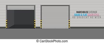 建物, 詳しい, illustration., 出産, 貯蔵, ∥あるいは∥, 高く, ベクトル, 倉庫, exterior.