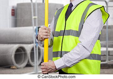 建物, 調節, 三脚, 高く, 測量技師, 視界, 立ちなさい