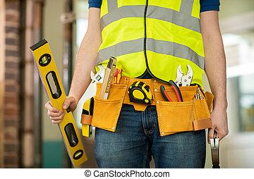 建物, 身に着けていること, 道具, 労働者, 細部, サイト, 建設, ベルト