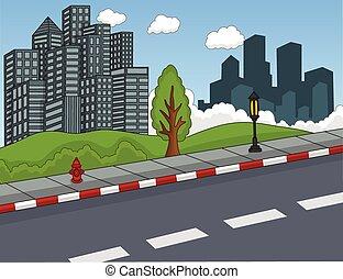 建物, 通り, 漫画, 光景