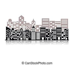 建物, 都市現場, イラスト, モノクローム