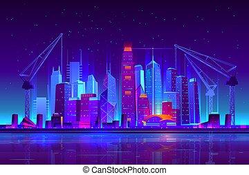 建物, 都市, クレーン, ネオン, 建設, 夜