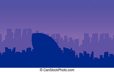 建物, 都市, コレクション, シルエット, ロンドン, 風景
