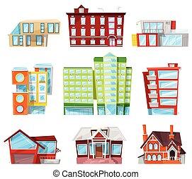 建物, 都市, セット, 建築である, ビジネス, アパート, 家, newbuild, ホテル, officebuilding, 隔離された, イラスト, 都市の景観, 建設, ベクトル, 背景, ファサド, 白, ∥あるいは∥, 銀行