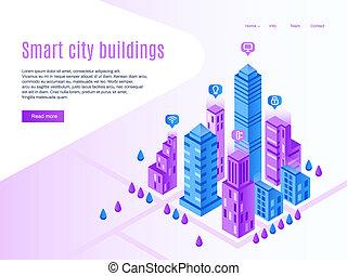 建物, 都市, ページ, 建物。, 都市, town., 等大, イラスト, 高く, ベクトル, 技術, 着陸, 都市の景観, 理性的, 未来派, 痛みなさい