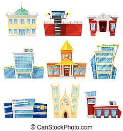 建物, 都市, ホテル, 背景, ビジネス, アパート, newbuild, 刑務所, officebuilding, 隔離された, イラスト, ∥あるいは∥, 都市の景観, ベクトル, 建築である, 教会, ファサド, 白, 病院, 銀行