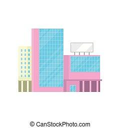 建物, 都市, モール, 買い物, オフィス, 家, 現代, イラスト, ファサド, ベクトル, 漫画