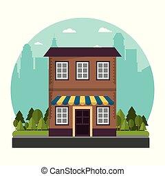 建物, 都市, 伝統的である, 通り, ファサド, 店
