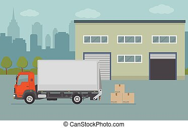 建物, 都市, 倉庫, トラック, バックグラウンド。
