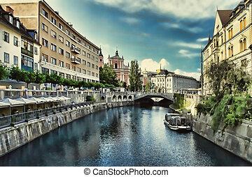 建物, 都市, 古い, slovenia., ljubljanica, ljubljana, 川, 光景