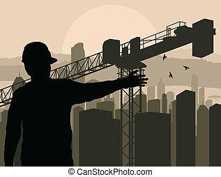 建物, 都市, 監視, プロセス, ベクトル, エンジニア