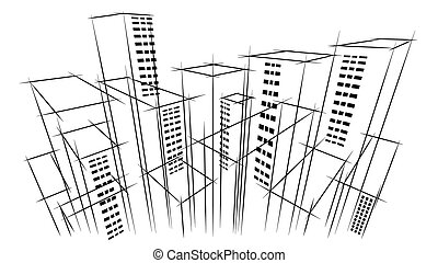 建物, 都市, 目, アウトライン, ビジネス, 現代, 空の スクレーパー, 手, 地平線, 建築家, 背景, 引かれる, 鳥, 風景, 光景